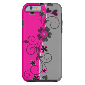 Pink Black Silver swirly flowers and hearts design Tough iPhone 6 Case