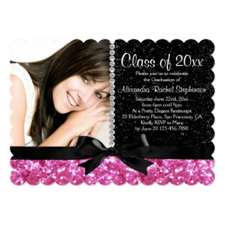 "Pink/Black Sparkle-look Bow Photo Graduation Party 5"" X 7"" Invitation Card"