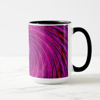Pink Black Spiral Wave Kaleidoscope Art Mug