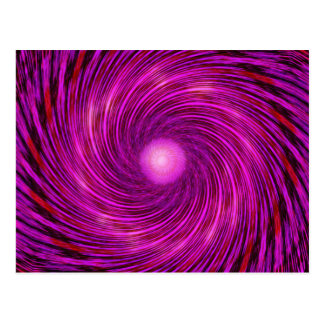 Pink Black Spiral Wave Kaleidoscope Art Postcard