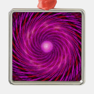 Pink Black Spiral Wave Kaleidoscope Art Silver-Colored Square Ornament