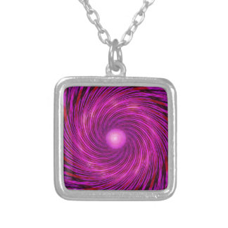 Pink Black Spiral Wave Kaleidoscope Art Silver Plated Necklace