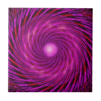 Pink Black Spiral Wave Kaleidoscope Art Tile