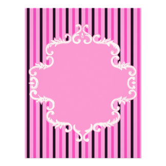 Pink Black Stripes Scroll Frame Scrapbook Paper
