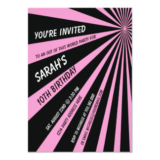 Pink Black Sun Beams Birthday Party Invitation