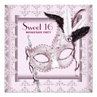"""Pink Black Sweet 16 Masquerade Party 5.25"""" Square Invitation Card"""