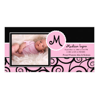 Pink Black Swirl Baby Girl Birth Photo Cards