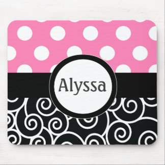 Pink Black Swirl Dots Personalized Mousepad