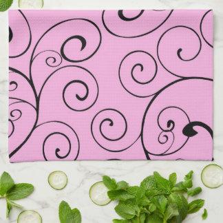 Pink Black Swirls Kitchen Cloth Towel