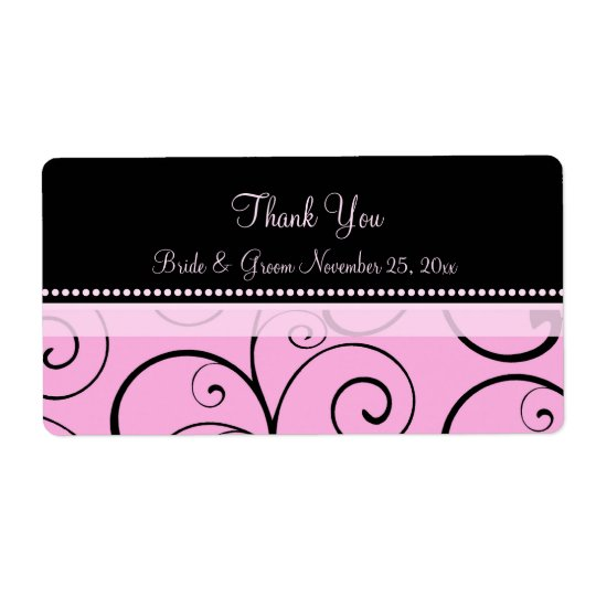 Pink Black Swirls Wedding Labels