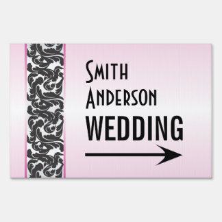 Pink & Black Swirly Ribbon Wedding Direction Sign