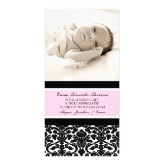 Pink Black Thank You Baby Shower Photo Cards