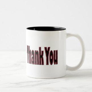 pink black Thank you Two-Tone Coffee Mug