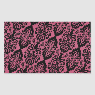 Pink Black Tilted Victorian Damask Pattern Sticker
