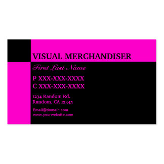 Pink black visual merchandiser business cards
