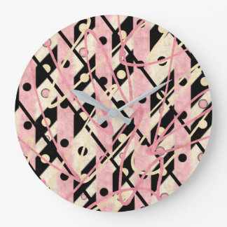 "Pink & Black Wall Clock ""Jazz"""