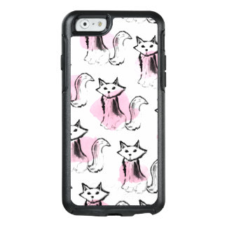 Pink black watercolor brushstrokes modern cats OtterBox iPhone 6/6s case