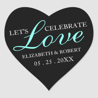 Pink & Black | Wedding Heart Invitation Sticker
