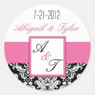 Pink Black Wedding Monogram Damask Sticker