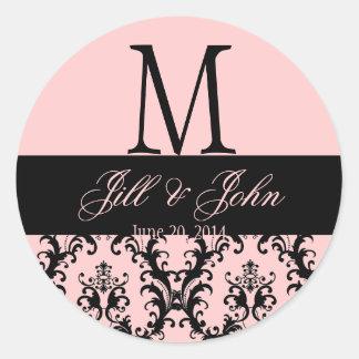 Pink  Black Wedding Monogram Save Date Damask Seal