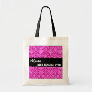 Pink Black White Best Teacher Ever Custom Name Tote Bag