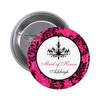 Pink Black White Chandelier Maid of Honor Pin