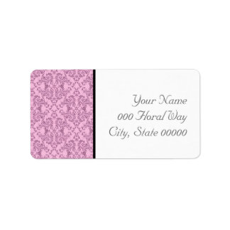 Pink Black White Damask Wedding Address Lables Label