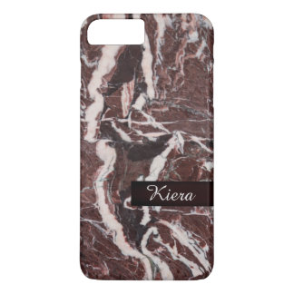 Pink Black White Faux Marble Name iphone Case