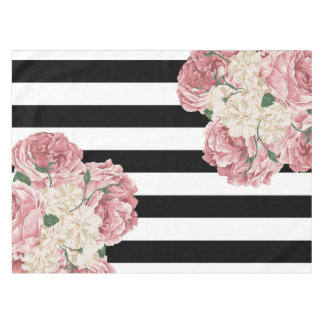 Pink, Black, White Floral Tablecloth