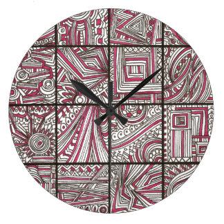 Pink, Black, White, Geometric Doodle - Ink Drawing Wallclock