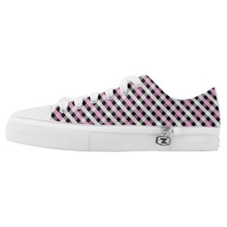 Pink, Black & White Gingham Low-Top Sneakers