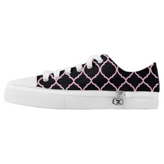 Pink, Black & White Moroccan Style Low-Top Sneakers