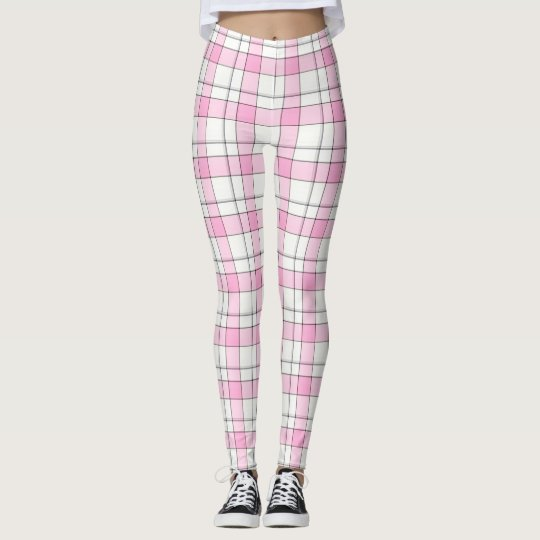 Pink,Black,White Plaid Leggings