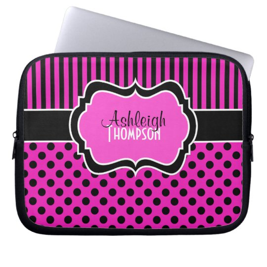 Pink, Black, White, Polka Dot Stripe Laptop Sleeve