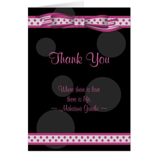 Pink Black White Polka Dot Wedding Thank You Card