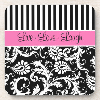 Pink, Black, White Striped Damask Coaster Set (6)