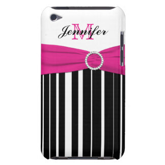 Pink, Black, White Striped iPod Touch Case