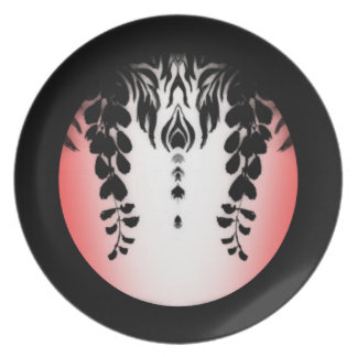 Pink Black White Wisteria Floral Plate