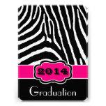 Pink, Black, White Zebra Print Graduation Invite