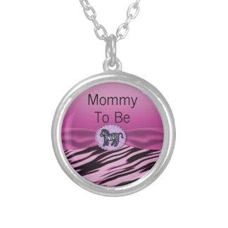 Pink & Black Zebra Glitter Baby Shower Round Pendant Necklace