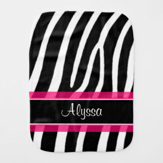 Pink Black Zebra Print Personalized Burp Cloth