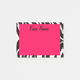 """Pink & Black Zebra Print"" Post-it Notes"