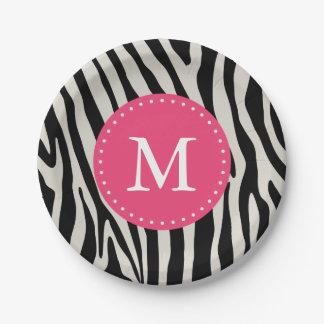 Pink & Black Zebra Stripe Monogram Birthday Party Paper Plate