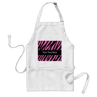 Pink & Black Zebra Stripes; Animal Print Standard Apron