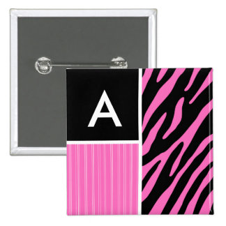 Pink & Black Zebra Stripes Pinback Buttons