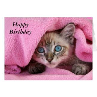 Pink Blankie Baby Siamese CatBirthday Card