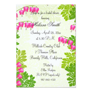Pink Bleeding Heart Floral Bridal Shower Invite
