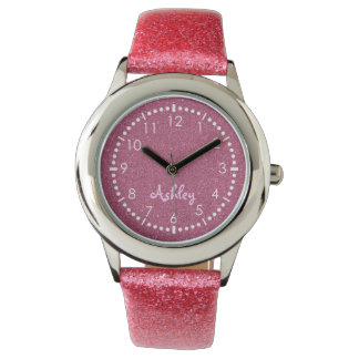 Pink bling monogram wristwatch