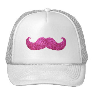 Pink Bling Mustache Faux Glitter Graphic Mesh Hats