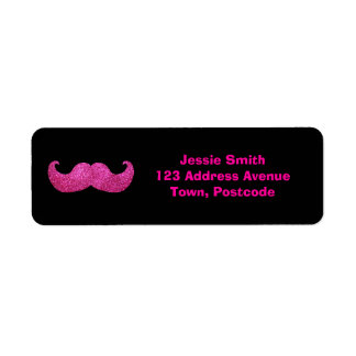Pink Bling Mustache (Faux Glitter Graphic) Return Address Label
